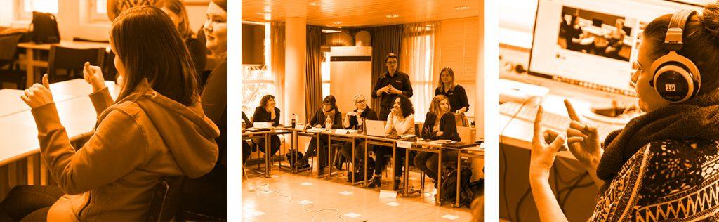 Viittomakielen tulkki aiheisia kuvia, ensimmäisessä kaksi naista istuu pulpeteissa ja toisella on peukalot ylöspäin, toisessa kuvassa ryhmä istuu luokassa pulpeteissa ja opettaja seisoo heidän takanaan, kolmannessa kuvassa nainen istuu luurit päässä ja viittoo tietokoneruudulle.