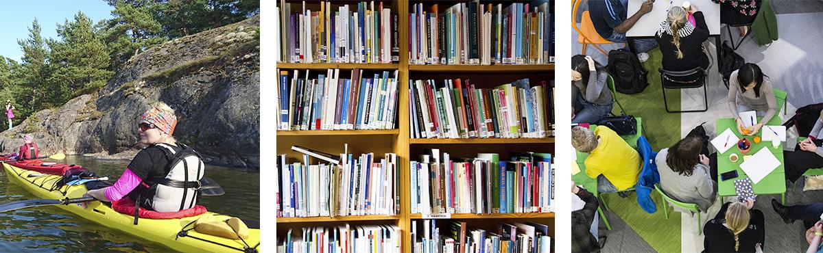 Kolme kuvaa: Vasemmalla merimaisemaa ja nainen kanootissa. Keskellä kuva kirjahyllystä täynnä kirjoja. Oikealla ylhäältä päin kuvattu kuva, jossa ihmisiä keskustelemassa pöytien äärellä.