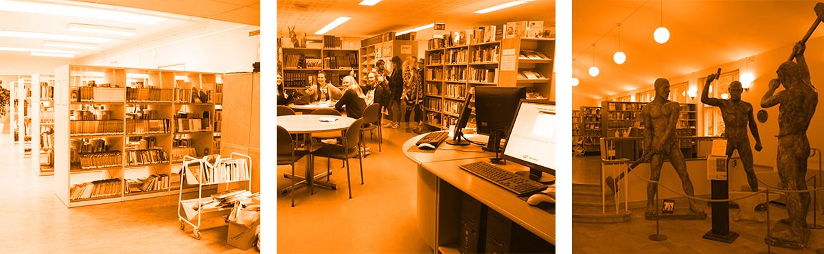 Oppilaat voivat vapaasti hyödyntää Humakin kirjaston antimia.