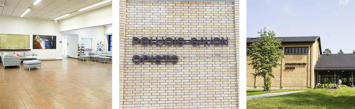 Kolme kuvaa: Aulatila, tiiliseinä jossa lukee Pohjois-Savon opisto ja kuva PS-opistosta kesällä.