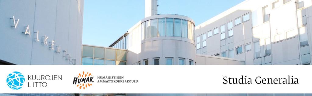 Humak ja Kuurojen Liitto järjestävät yhdessä Studia Generalia luentosarjan