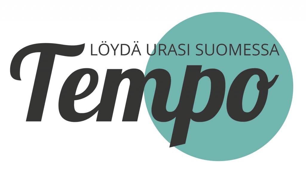 Tempo-hankkeen logo, jossa taustalla sininen pallo, jonka päällä lukee isoin kirjaimin tempo ja pienemmin kirjaimin löydä urasi Suomessa.