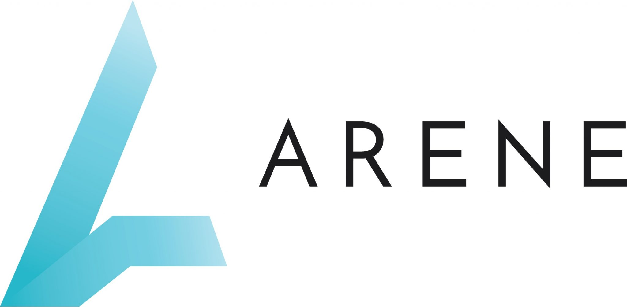 Arenen logo, sinertävä graafinen a ja musta ARENE teksti..