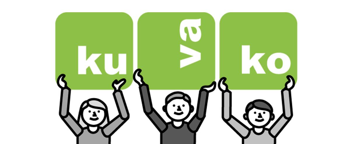 Kuvassa KUVAKO-hankkeen kuvakommunikaation tueksi tehdyt hahmot, kannattelevat KUVAKO-logoa