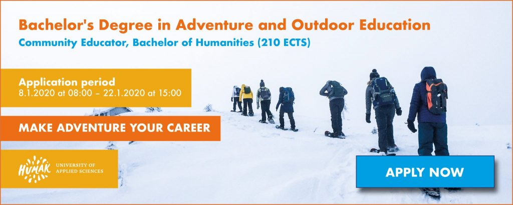 Application period banner: Bachelor's degree in adventure and outdoor education 2020