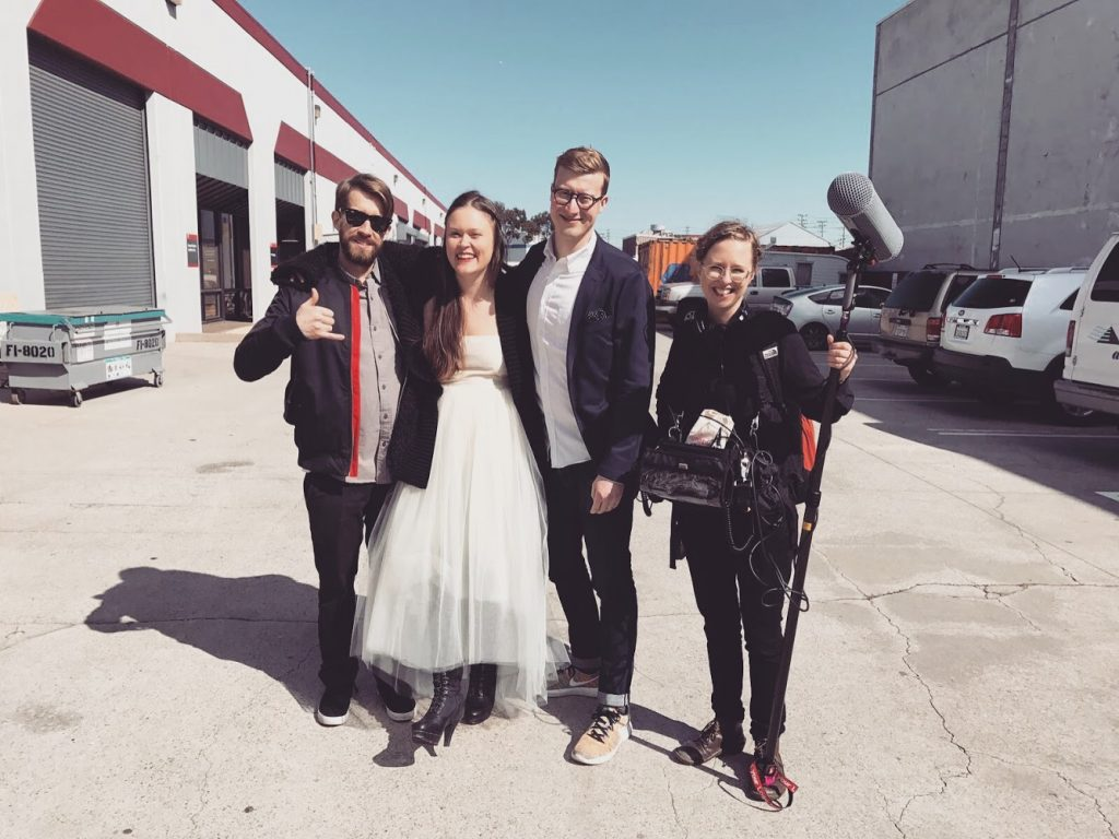 Erika and her film crew at a location