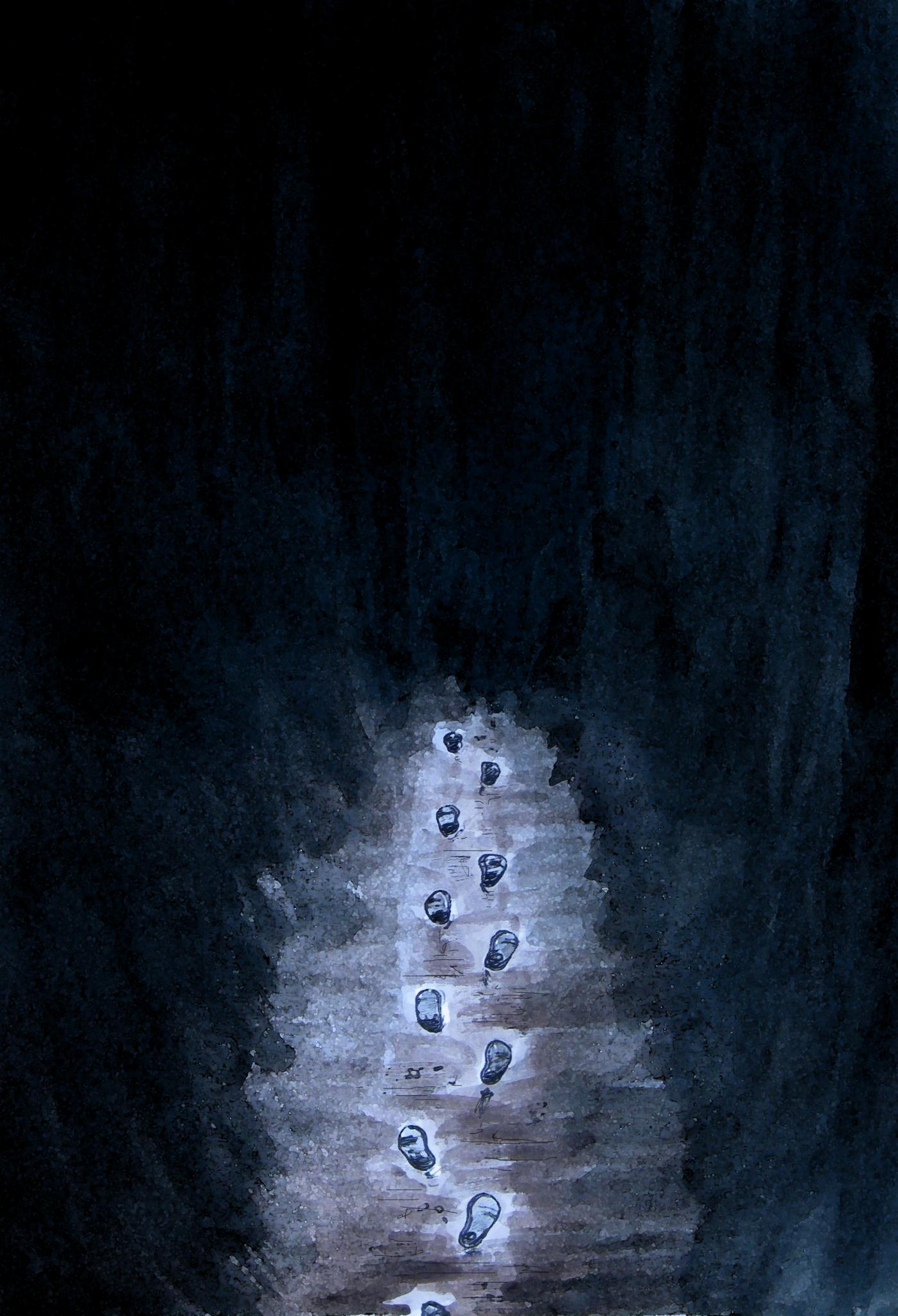 Kuvassa maalaus, jossa mustaa ympärilla ja keskellä rusehtava polku, jossa näkyy askeleet. Teoksen nimi on näköalattomuuden polku.