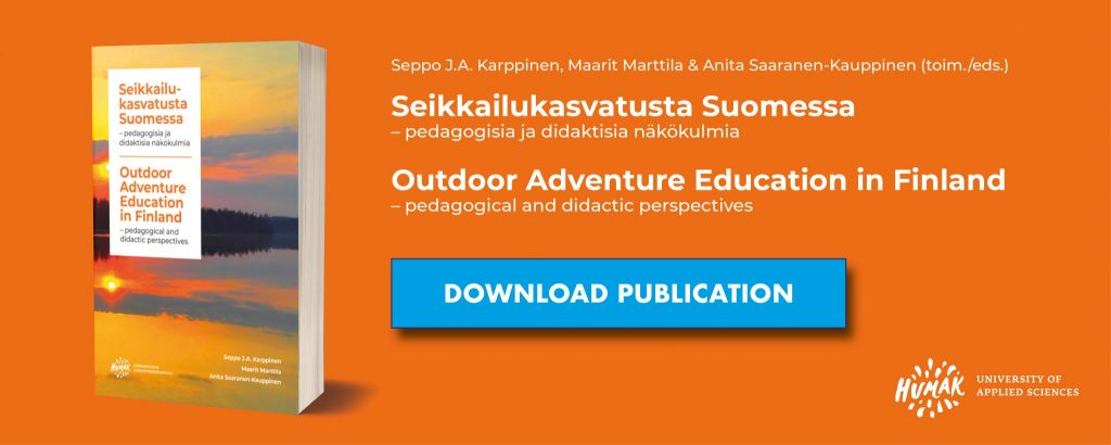 Outdoor Adventure Education in Finland - publications dowload-banner. There is a picture of the publication and download-button.