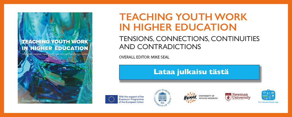 Teoksen Teaching youth work in higher education :in lataus banneri verkkosivuille.