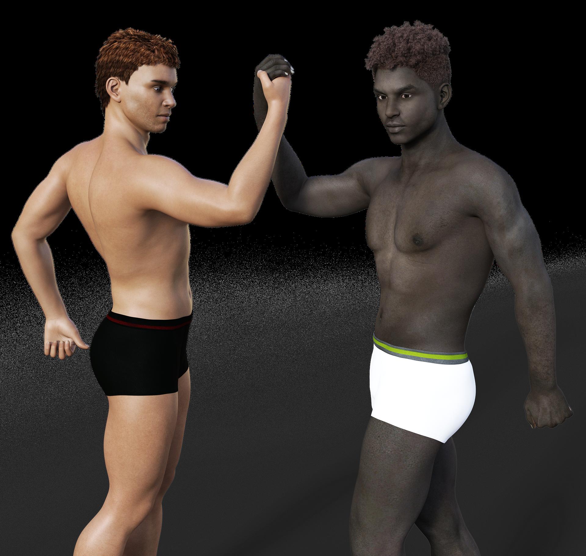 Uhriutumisen kulttuuri -blogin kuva, jossa vaalea ihoinen ja tumma ihoinen mies vierekkäin (piirretty).