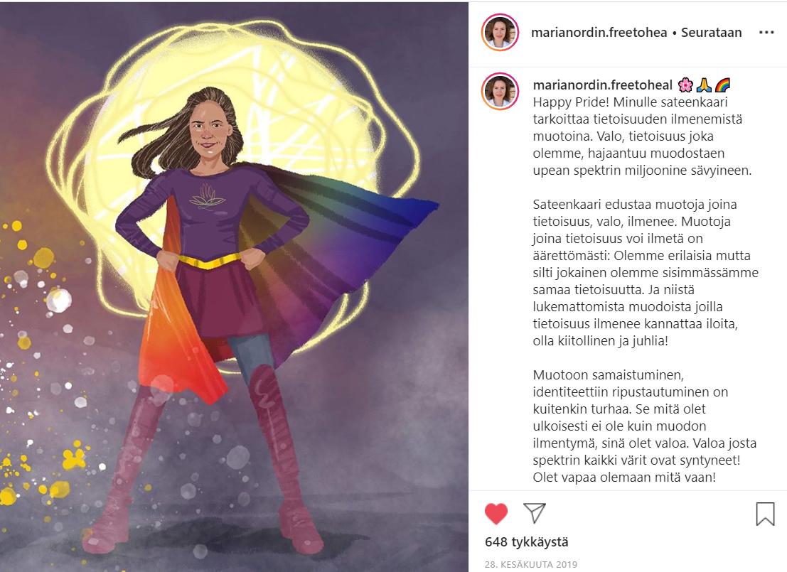 Uhriutumisen kulttuuri -blogin kuva, jossa on kuvakaappaus Maria Nordinin instagram-päivityksestä.