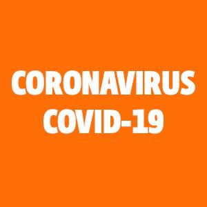 """Oranssi tausta ja teksti """"CORONAVIRUS, COVID-19"""".Oranssi tausta ja teksti """"CORONAVIRUS, COVID-19""""."""