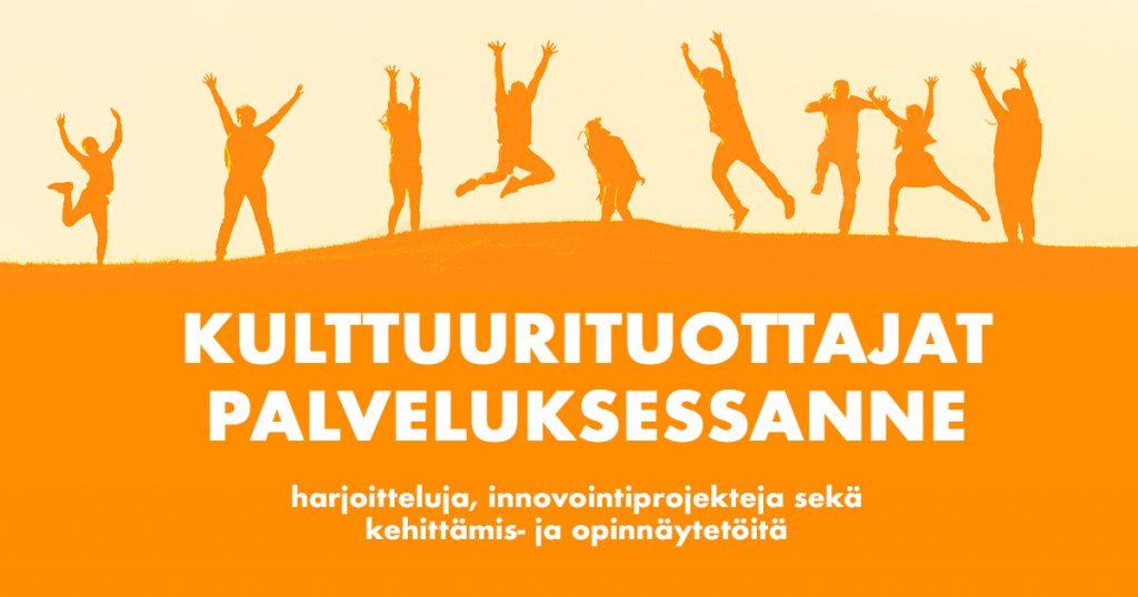 Oranssin sävyinen kuva, jossa yhdeksän ihmistä hyppimässä sekä teksti