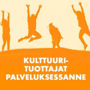 """Kuva, jossa on oranssi maa ja jonka päällä on neljä ihmistä hyppimässä sekä teksti """"Kulttuurituottajat palveluksessanne""""."""