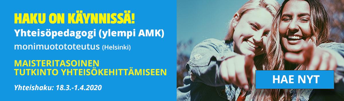 """Kuvassa sinisellä tausta teksti """"Haku on käynnissä! Yhteisöpedagogi (ylempi AMK), monimuotototeutus, Helsinki"""". Oikealla kuva, jossa jossa kaksi hymyilevää tyttöä osoittaa kuvan keskelle sekä """"Hae nyt""""-painike."""