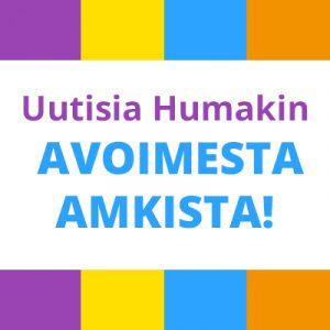 """Valkoinen tausta, jossa teksti """"uutisia humakin avoimesta AMKista!"""". Reunoilla väripalkkeja (lila,keltainen,sininen ja oranssi)."""