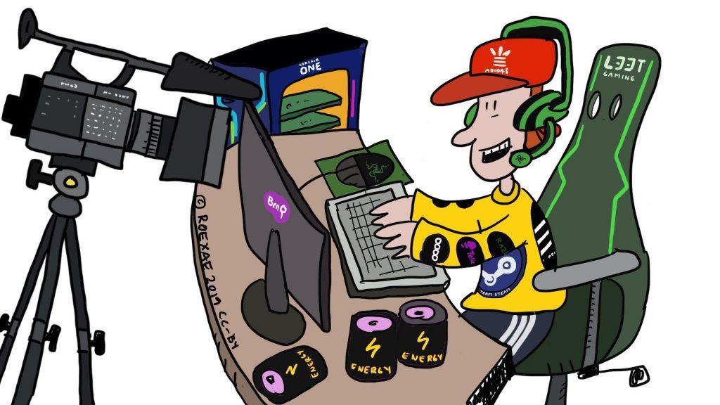 Poika pelaa tietokoneella sponsoripaita päällä ja striimaa peliään verkkoon, piirroskuva.