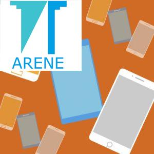 Arenen logo taustallaan piirrettyjä matkapuhelimia.