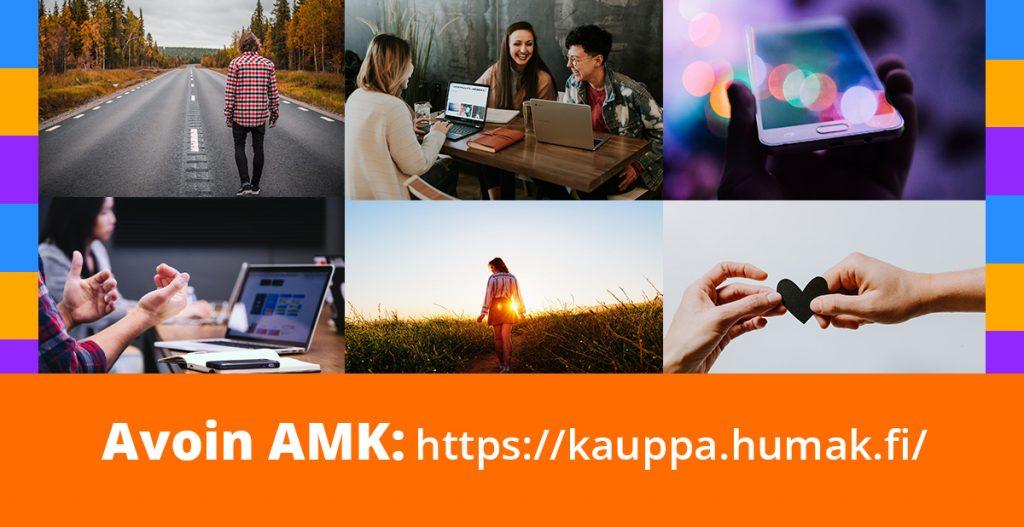 Avoin AMK verkkokaupan kuvia ja osoite.