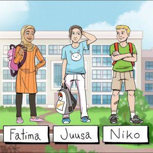Piirroskuva, jososa kolme henkilöä seisoo koulun edessä.