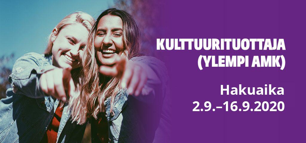 Kulttuurituottaja YAMK koulutushaku päättyy 16.9.2020. Bannerikuva vie opintopolkuun ja avaa linkin uuteen väilehteen.