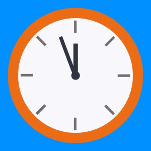 Kello, jossa oranssit reunat sinisellä taustalla. Kello näyttää 5 vaille 12.