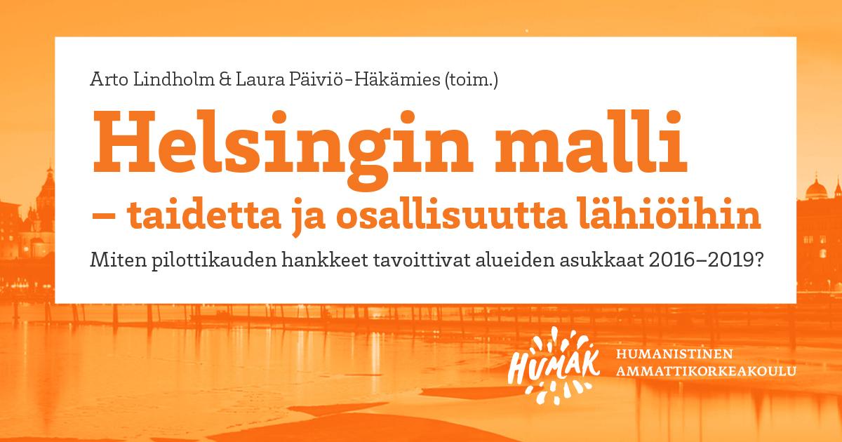 """Kuvassa oranssi tausta jossa Helsingin siluetti. Kuvan päällä teksti """"Helsingin malli""""."""