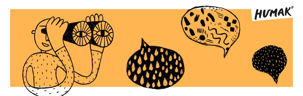 Oranssitaustainen kuva, jossa piirroskuvitus, kiikareilla katseleva hahmo ja kolme kuvioitua puhekuplaa.