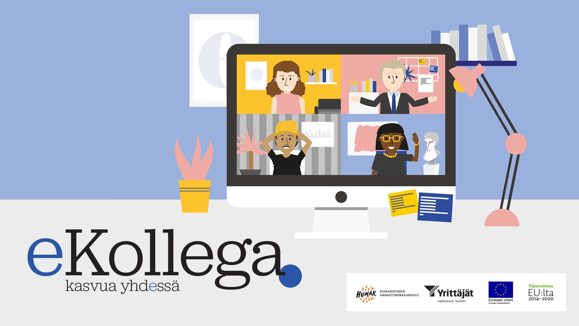 Piirroskuva työpöydästä, jossa on tietokone auki. Tietokoneen ruudulta näkyy neljä henkilöä. Kuan päällä eKollega-hankkeen logo.