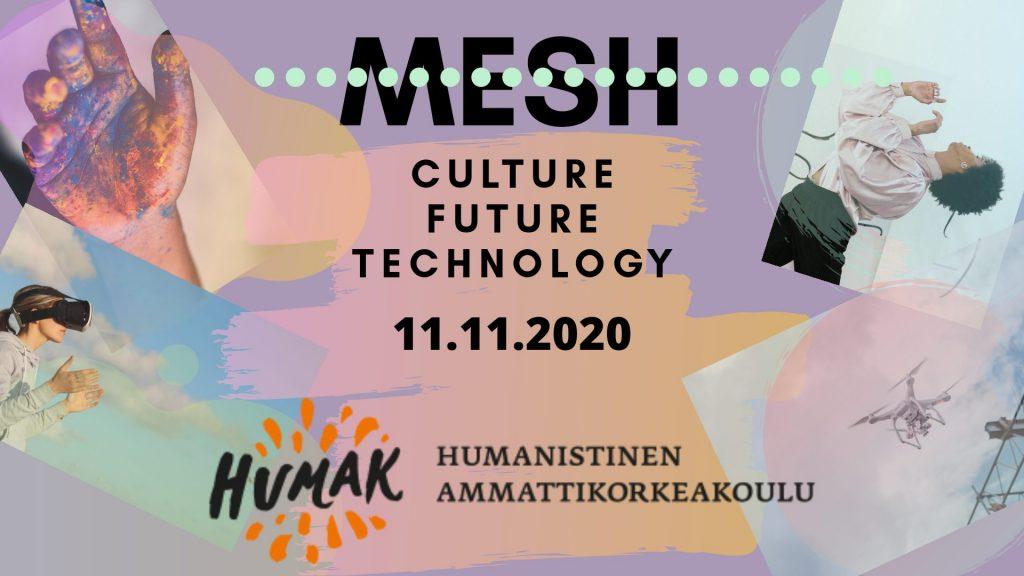 MESH pääkuva, lila, oranssi. sinertävä, kuvitusta väriläiskämäisesti ja Humakin logo.