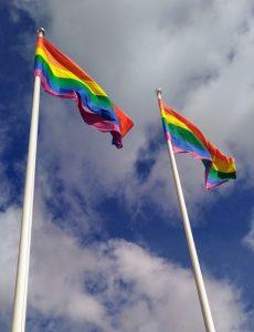 Kahdessa lipputangossa liehuu sateenkaarilippuja.