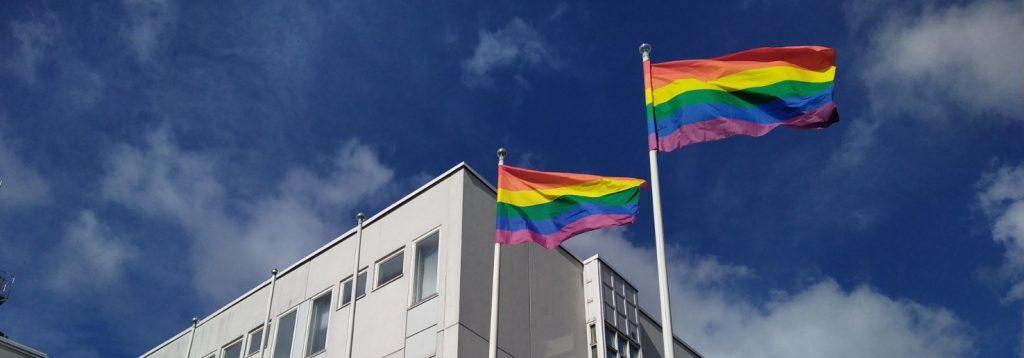Kaksi sateenkaarilippua liehuu lipputangossa toimistorakennuksen edessä.