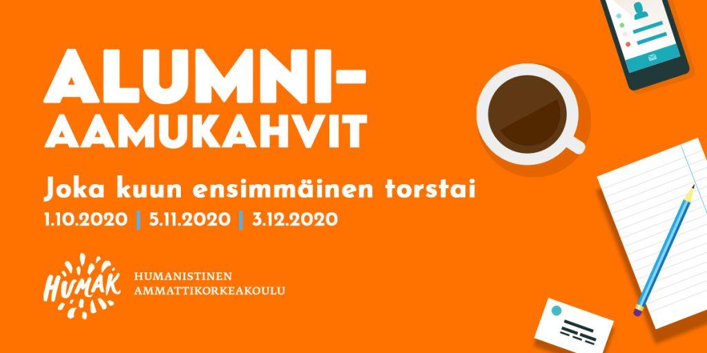 Alumniaamukahvien oranssi mainosmainen pääkuva, jossa aikataulut, piirroksina kahvikuppi, kännykkä, lehtiö ja kynä sekä tietokoneen näppäimistö.