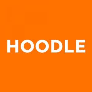 """Oranssi tausta, jossa teksti """"Hoodle""""."""