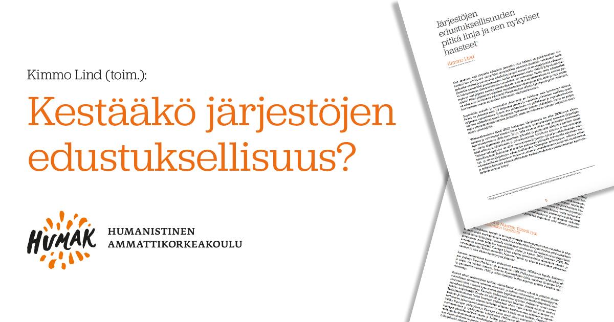 Kirjan aukeamia, Humakin logo ja teksti Kimmo Lind Kestääkö järjestöjen edustuksellisuus.