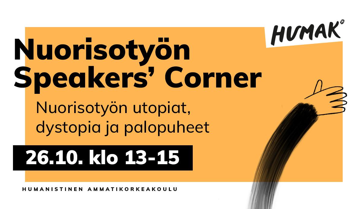 Nuorisotyön Speakers' Corner 26.10.2021 klo 13.00-15.00 avoin verkkoseminaari
