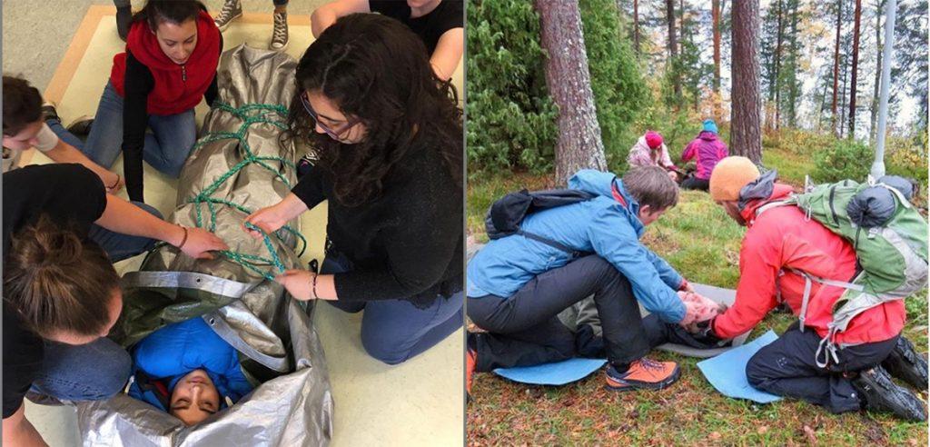 Ensiaputaitojen opiskelua luokassa ja metsässä.