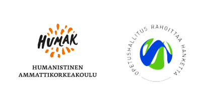yhteisölliset osallistavat menetelmät verkkokoulutuksissa -koulutuksen rahoittajien logot: Humak ja OPH.
