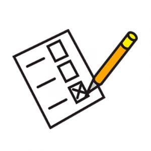 Piirroskuva paperilomakkeesta sekä kynästä.
