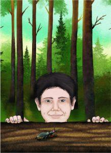 Beetles piirroskuva miehestä kaatuneen puunrungon takana ja kovakuoriainen puun päällä, taustalla vihreää metsää, kuvan ympärillä valkoista reunaa.