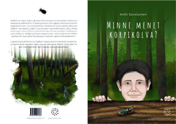 Satukirjan kannet, joissa vihreä-ruskea piirroskuva miehestä ja kovakuoriaisesta ja takakannen teksti ja kuva.