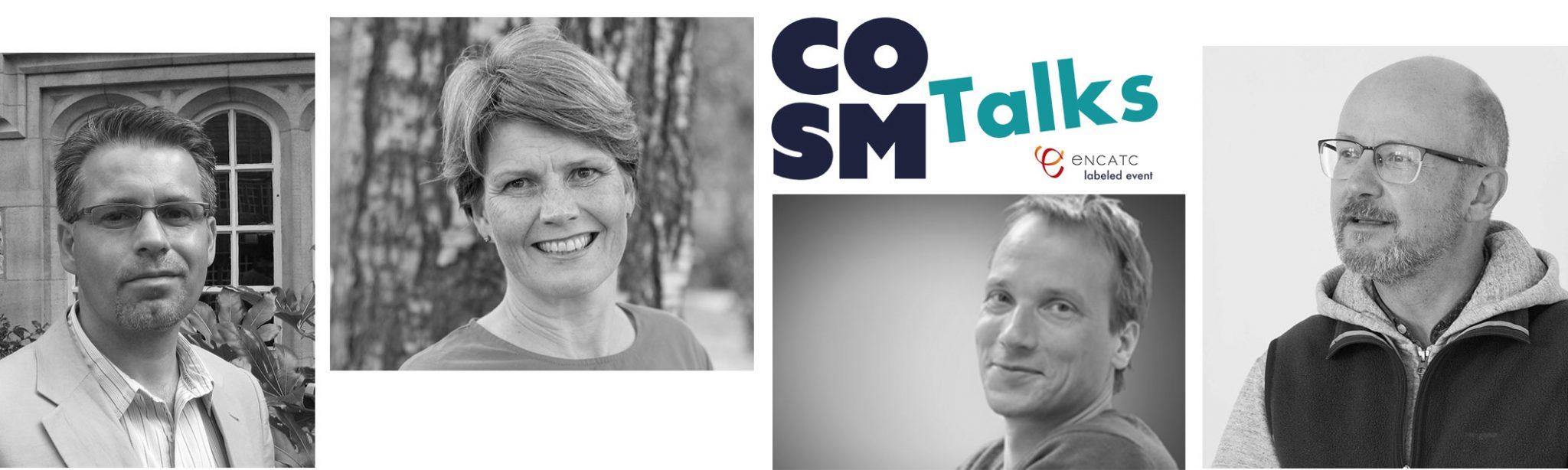 COSM Talks banneri jossa COSM logo ja neljä hymyilevää ihmistä.