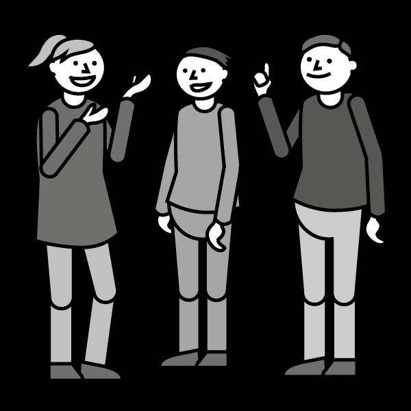 Mustavalkoinen piirroskuva, jossa kolme ihmistä seisoo ja keskustelee. Tulkkauspalveluntuottaja kehittää osaamistaan opiskelijavoimin.
