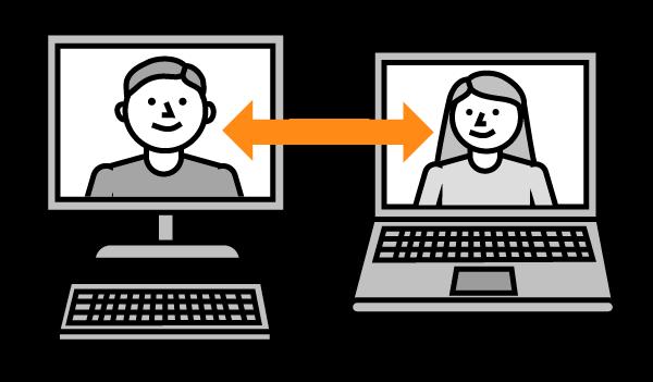 Mustavalkoinen piirroskuva kahdesta tietokoneen näytöstä, joissa toisessa mieshahmo ja toisessa nainen. Näyttöjen välissä oranssi molempiin suuntiin osoittava nuoli.