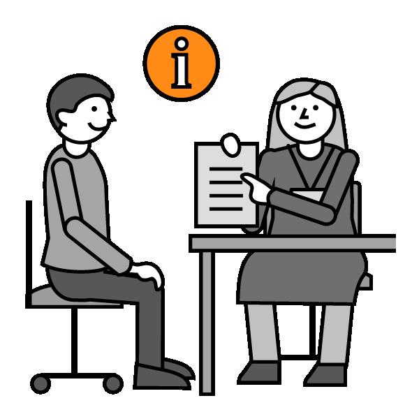 Mustavalkoinen piirroskuva, jossa mies ja nainen istuvat pöydän äärellä. Naisella on paperiarkki kädessä. Kuvan yläosassa oranssi infologo.