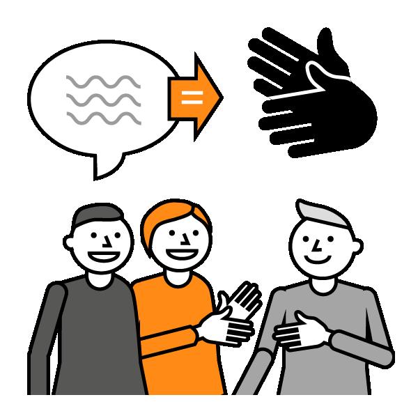 Mustavalkoinen piirroskuva kolmesta hymyilevästä henkilöstä. Keskimmäisellä on oranssit hiukset ja oranssi paita. Yläpuolella puhekupla, josta oranssi nuoli oikealle kohti viittovia käsiä. Tulkkauspalveluntuottaja kehittää osaamistaan opiskelijavoimin.