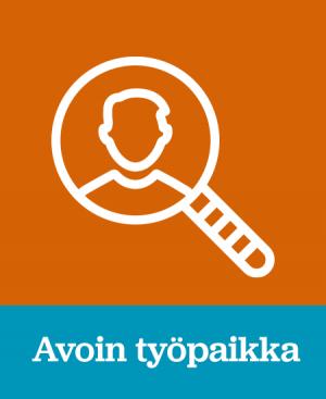 """Oranssi tausta, jossa teksti """"Avoin työpaikka"""". Tekstin vieressä ikoni suurennuslasista, jonka sisällä on henkilö."""