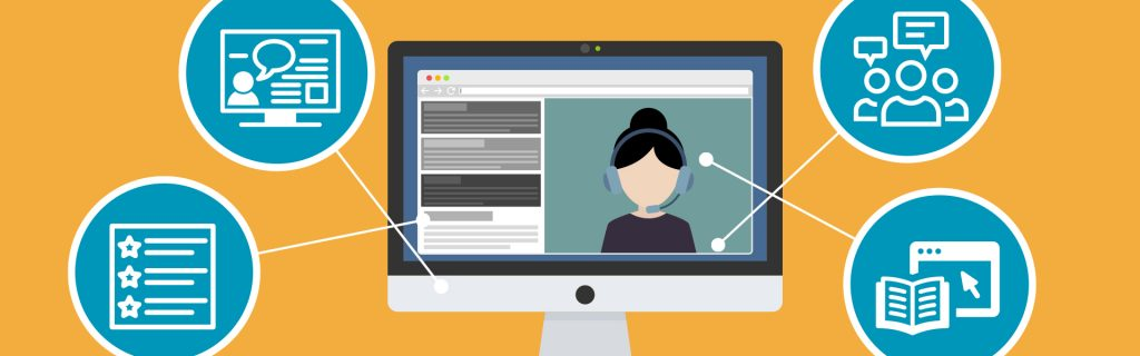 Webinaaripedagogiikka piirroskuva tietokoneruutu, henkilö ruudulla ja neljä palloa webinaariaiheilla pääkuva uutiseen..