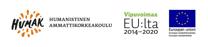 Virtalähde-hankkeen järjestäjien ja rahoittajien logot: Humanistinen ammattikorkeakoulu, Vipuvoimaa EU:lta 2014-2020, ja Euroopan sosiaalirahasto.