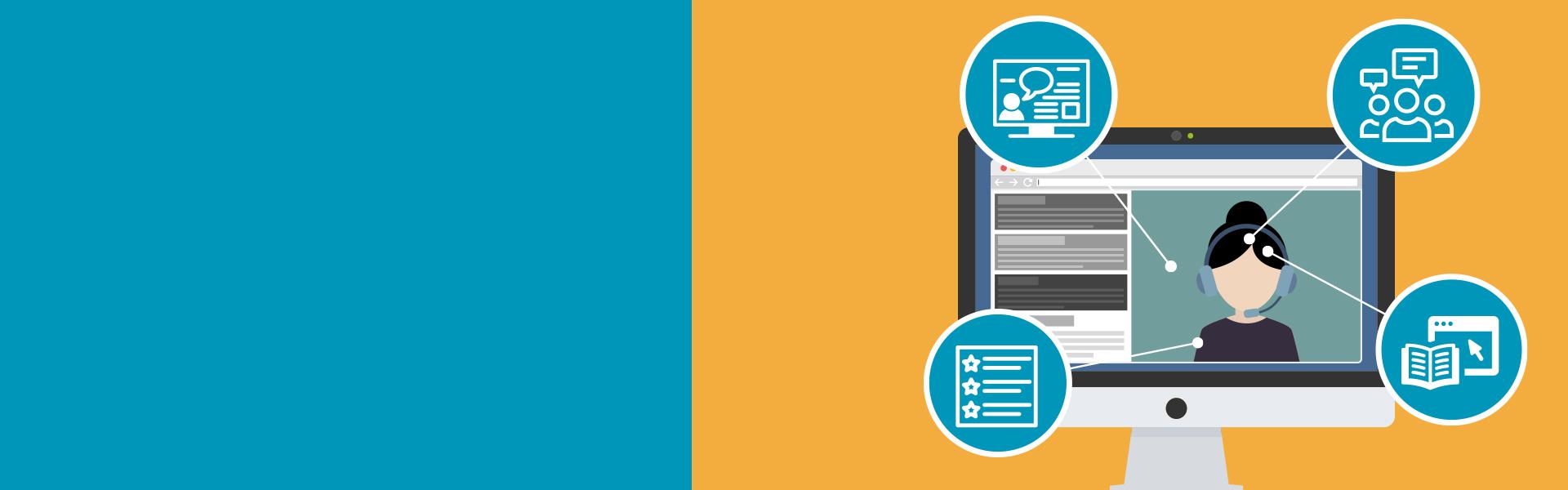 Kaksivärinen webinaariopintoja kuvaava banneri, jossa on tietokoneruutu ja neljä pallokuvaketta kuvaamassa erilaisia opiskelutapoja.